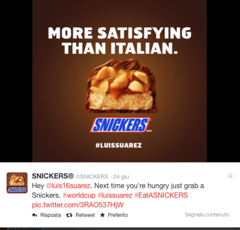 SNICKERS_Next time you're hungry just grab a Snickers. #worldcup #luissuarez #EatASNICKERS